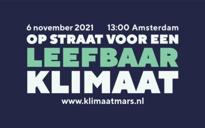 Klimaatmars op 6 november 2021 in Amsterdam